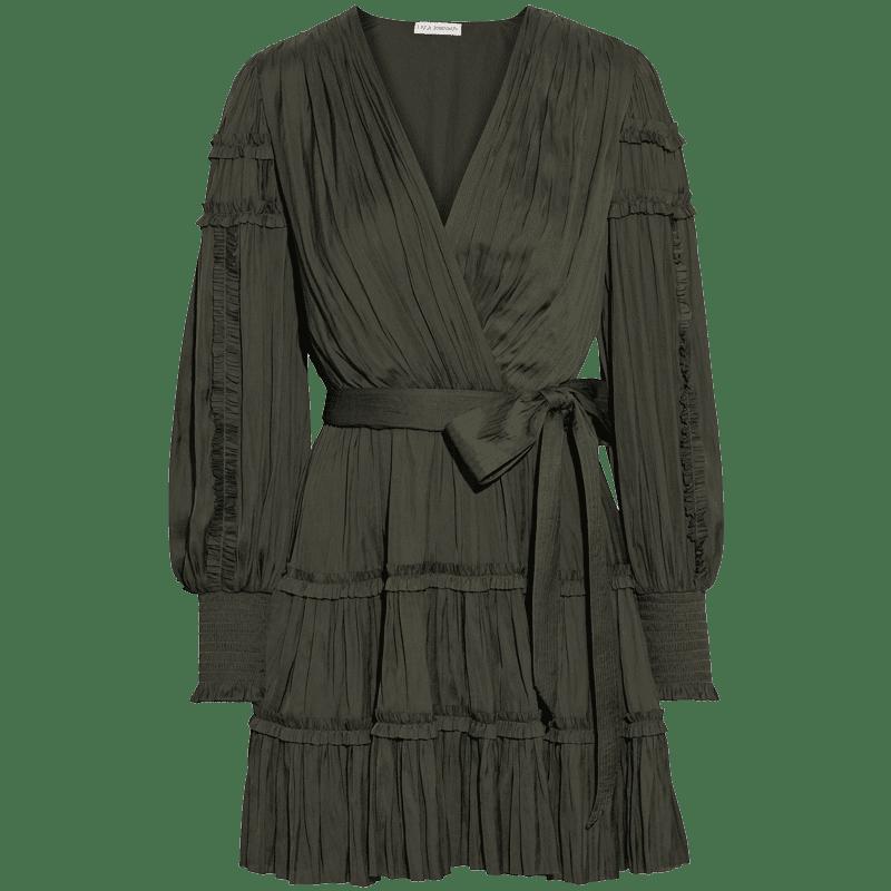 Amal wrap-effect pleated crepe de chine mini dress