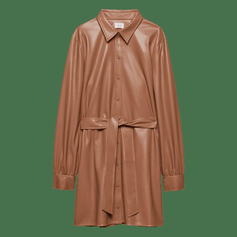 Belted Vegan Leather shirt dress