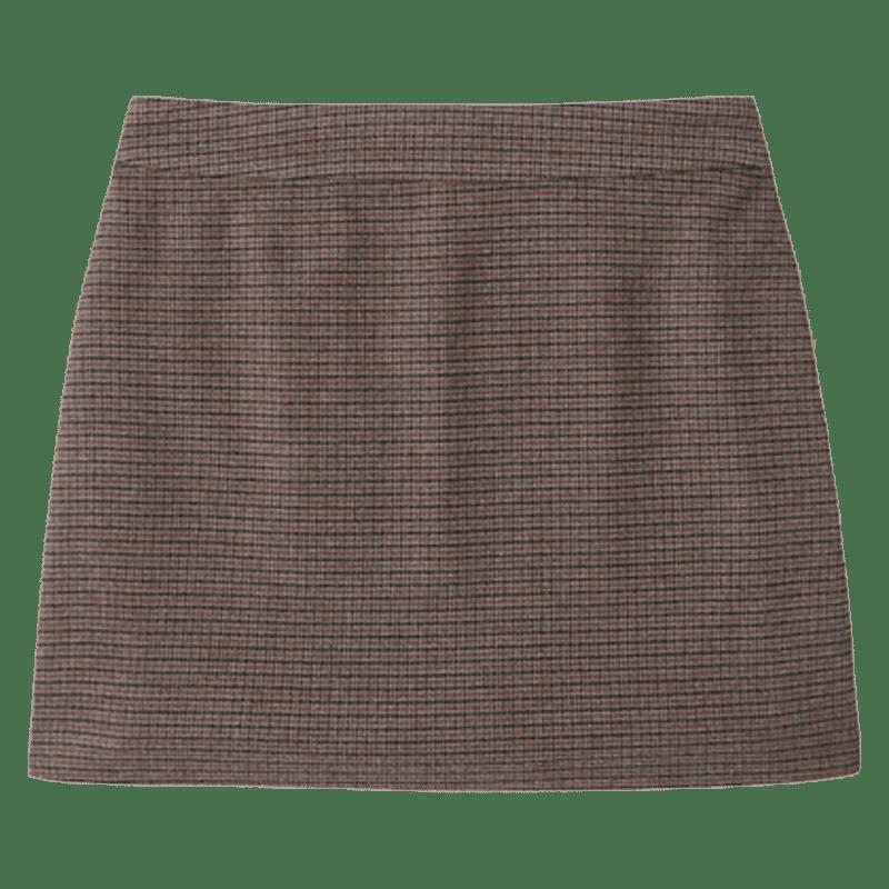 Brown Plaid Mini Skort