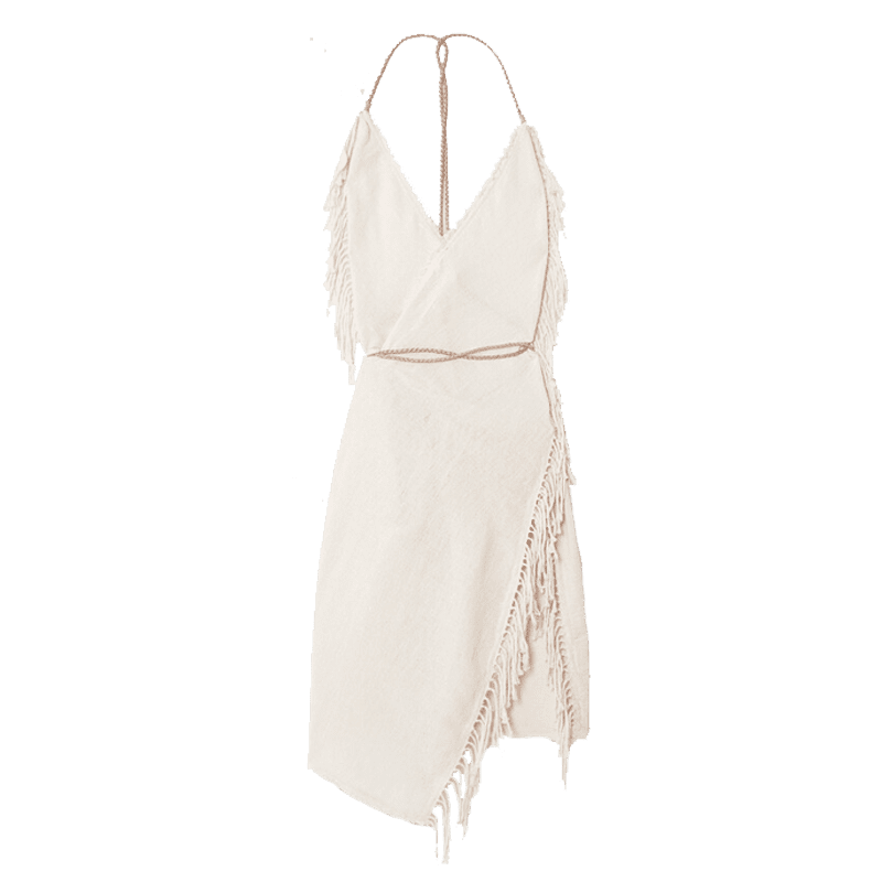 Caravana - + Net Sustain Misol Open-back Leather-trimmed Fringed Cotton-jute Dress - Neutrals