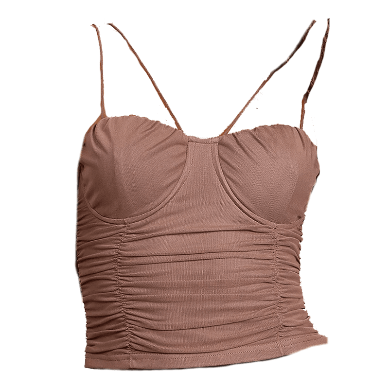 Feel Like Flaunting Dusty Mauve Mesh Bustier Cropped Cami Top