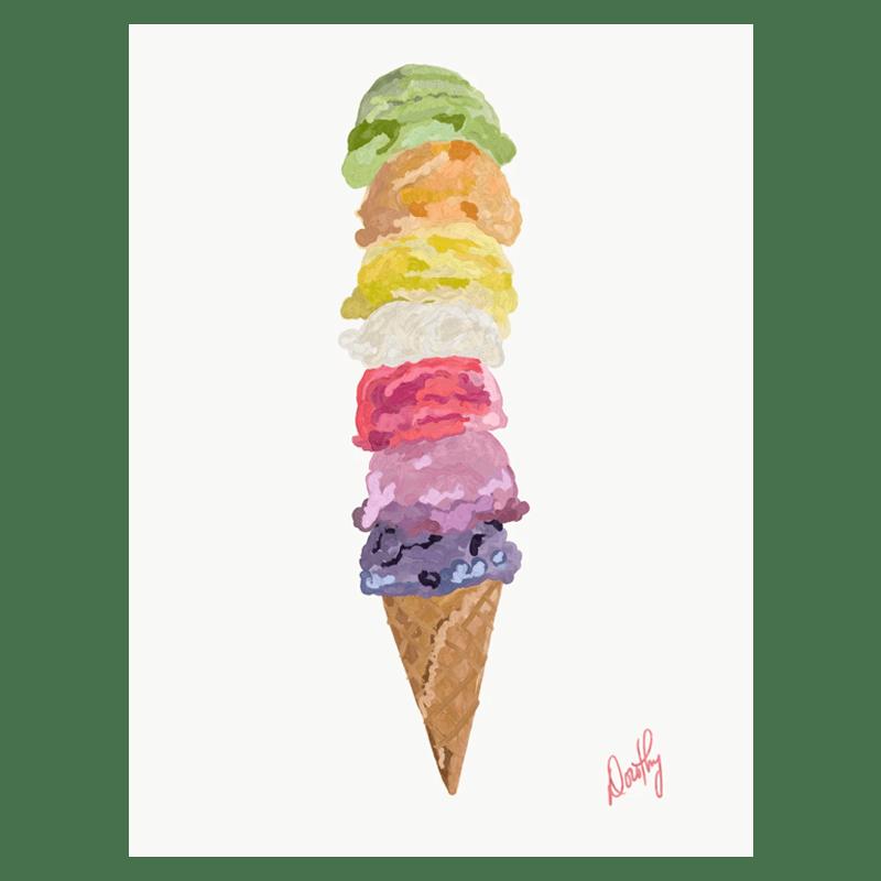 Ice Cream Rainbow Print