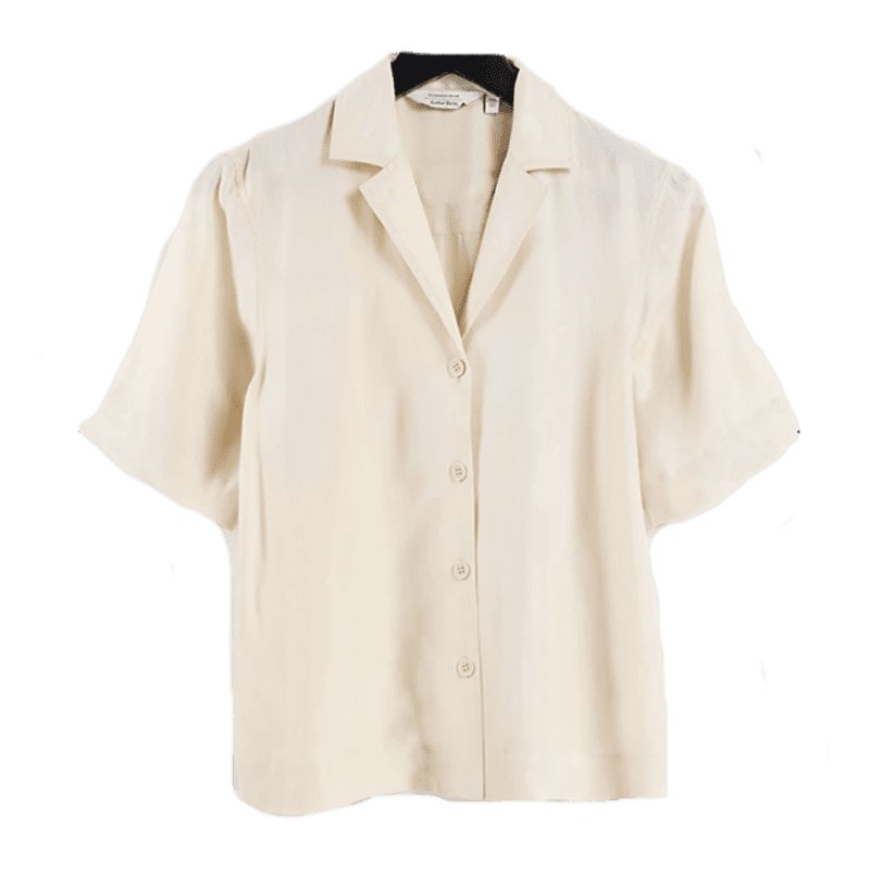 & Other Stories super soft short cupro sleeve shirt in beige - part of a set