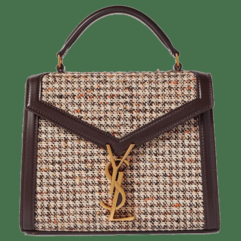 SAINT LAURENT - Cassandra Mini Leather-trimmed Tweed Shoulder Bag - Neutrals