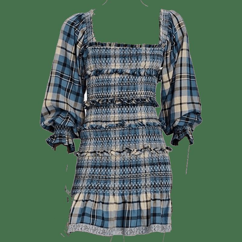 Stanley Smocked Plaid Cotton Dress