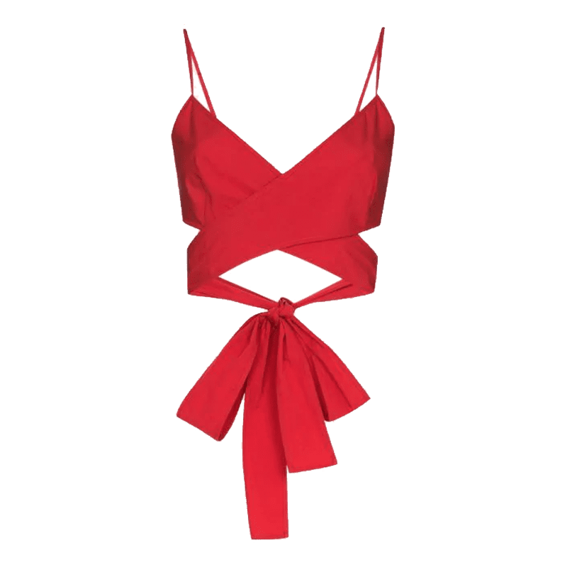 Three Graces wrap tie-fastening cropped top